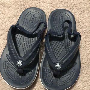 Like new crocs navy flip flops toddler size 9